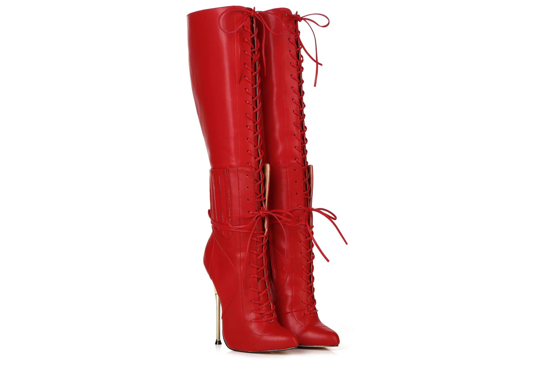 GIARO Brainbuster Red Matte Stiefel in Übergrößen Rot große Damenschuhe – Bild 5
