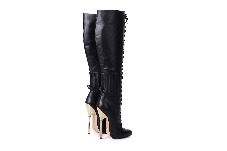 GIARO Brainbuster Black Matte Stiefel in Übergrößen Schwarz große Damenschuhe – Bild 3