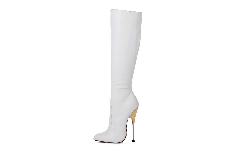 GIARO Be Brave White Matte Stiefel in Übergrößen Weiß große Damenschuhe – Bild 1