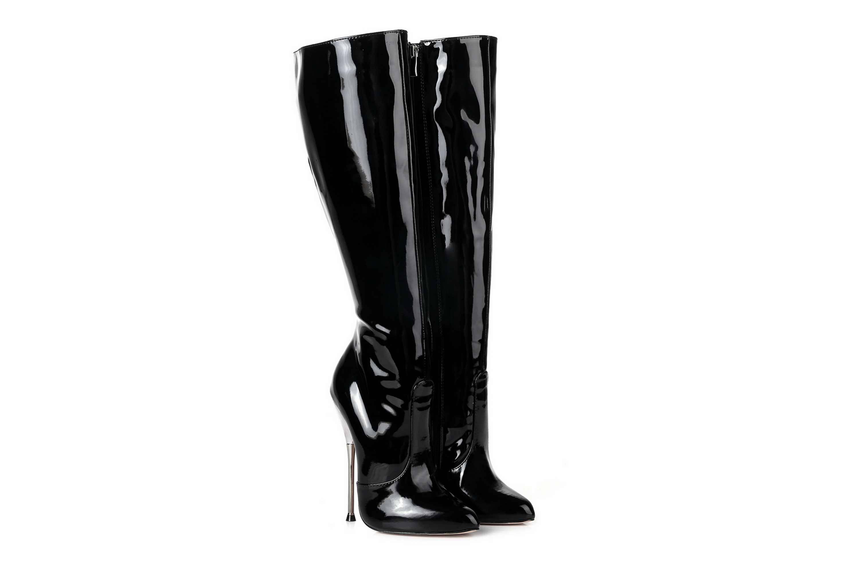 GIARO Be Brave Black Shiny Stiefel in Übergrößen Schwarz große Damenschuhe – Bild 5