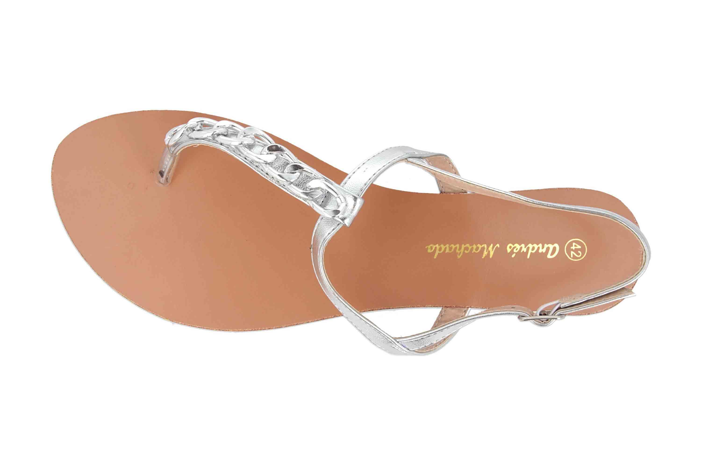 Andres Machado Sandalen in Übergrößen Silber AM5355 Brillo Plata große Damenschuhe – Bild 2