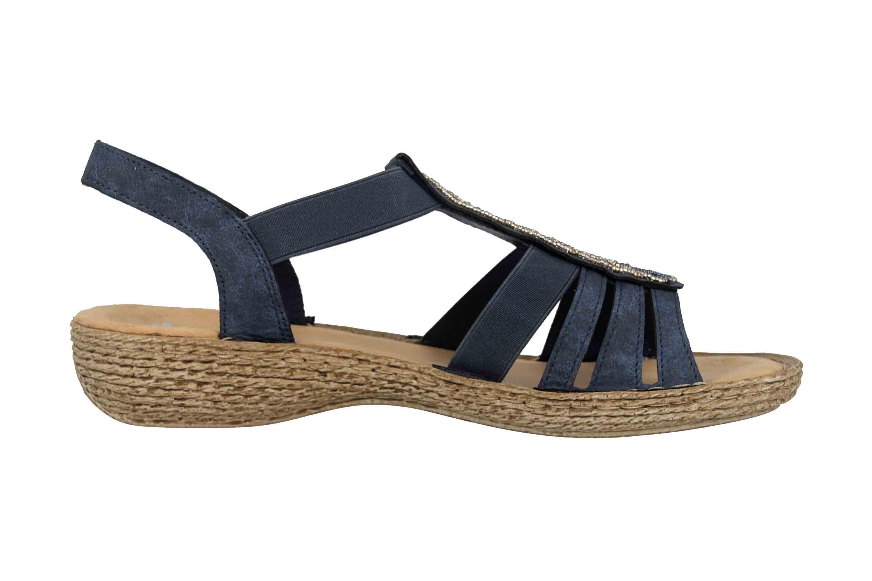 Rieker Sandalen in Übergrößen Blau 658CO-14 große Damenschuhe – Bild 4