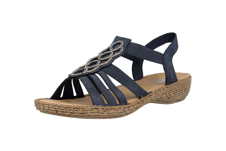 Rieker Sandalen in Übergrößen Blau 658CO-14 große Damenschuhe – Bild 6