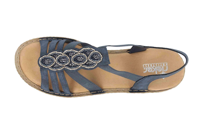 Rieker Sandalen in Übergrößen Blau 658CO-14 große Damenschuhe – Bild 7