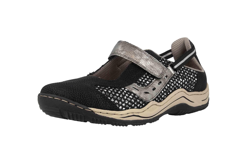 Rieker Sneaker in Übergrößen Schwarz L0578-00 große Damenschuhe – Bild 6