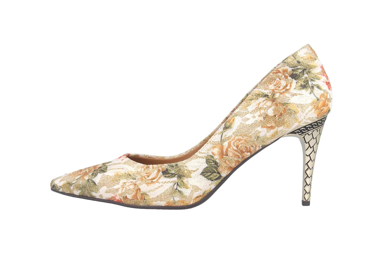J.Reneé Floral Glitter Lace Pumps in Übergrößen Mehrfarbig Maressa White Gold Multifloral große Damenschuhe – Bild 1