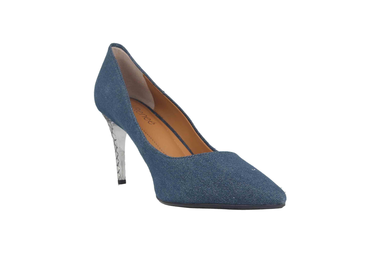 J.Reneé Shimmer Denim Fabric Pumps in Übergrößen Blau Maressa Blue Denim große Damenschuhe – Bild 5