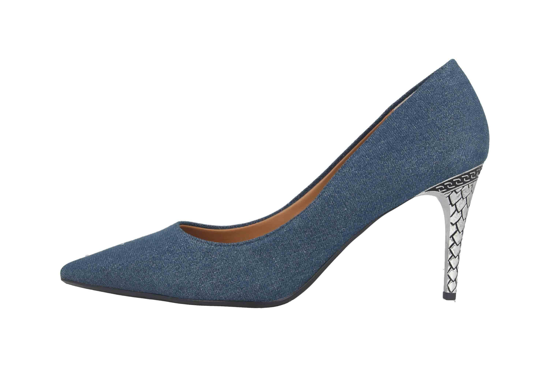 J.Reneé Shimmer Denim Fabric Pumps in Übergrößen Blau Maressa Blue Denim große Damenschuhe – Bild 1