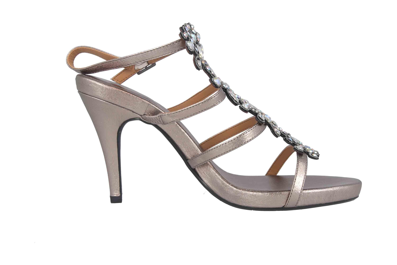 J.Reneé Metallic Nappa/Rhinestones Sandaletten in Übergrößen Taupe Evadine Taupe Metallic große Damenschuhe – Bild 4