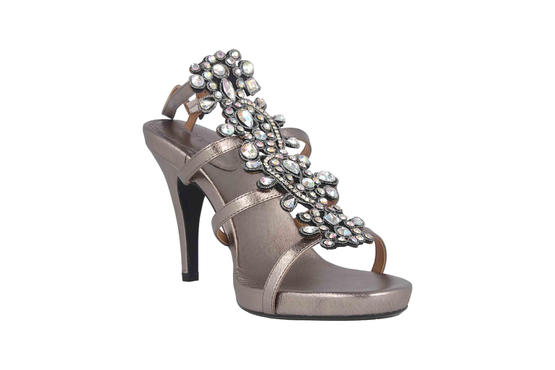 J.Reneé Metallic Nappa/Rhinestones Sandaletten in Übergrößen Taupe Evadine Taupe Metallic große Damenschuhe – Bild 5