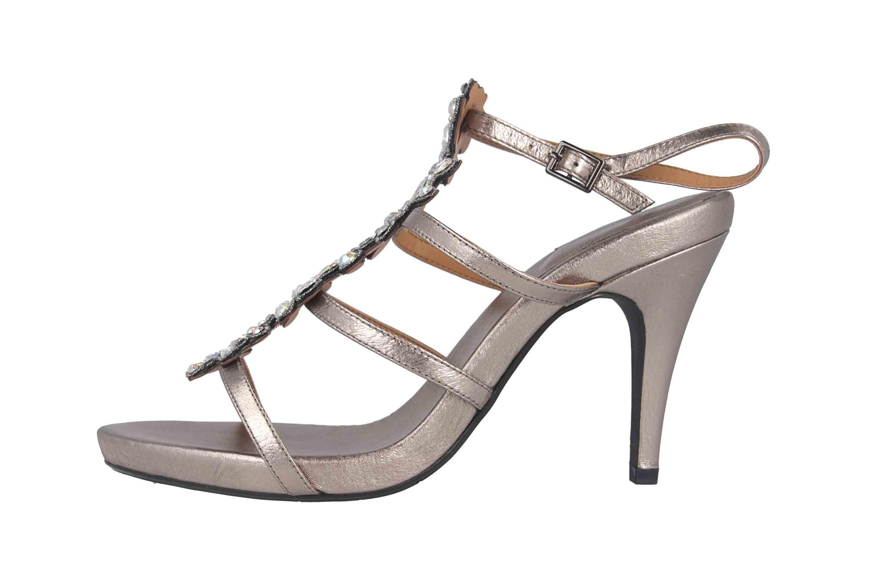 J.Reneé Metallic Nappa/Rhinestones Sandaletten in Übergrößen Taupe Evadine Taupe Metallic große Damenschuhe – Bild 1