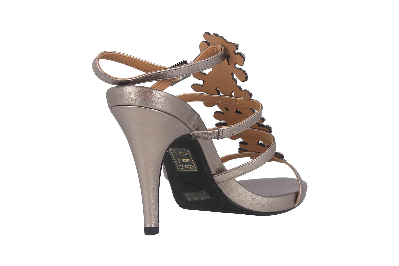J.Reneé Metallic Nappa/Rhinestones Sandaletten in Übergrößen Taupe Evadine Taupe Metallic große Damenschuhe – Bild 3