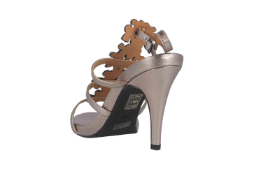 J.Reneé Metallic Nappa/Rhinestones Sandaletten in Übergrößen Taupe Evadine Taupe Metallic große Damenschuhe – Bild 2
