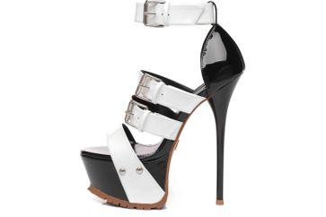 Giaro High Heels in Übergrößen Mehrfarbig Sienna Black White Shiny große Damenschuhe – Bild 1