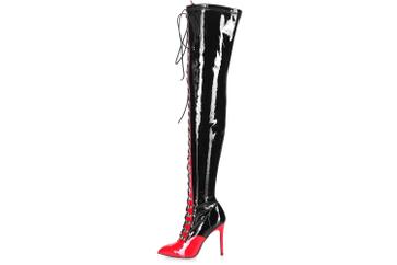 Giaro Stiefel in Übergrößen Schwarz Veruska Black Red Shiny große Damenschuhe – Bild 1