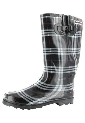 INTEX Cora - Damen Kautschuk-Gummistiefel - Schwarz Schuhe in Übergrößen