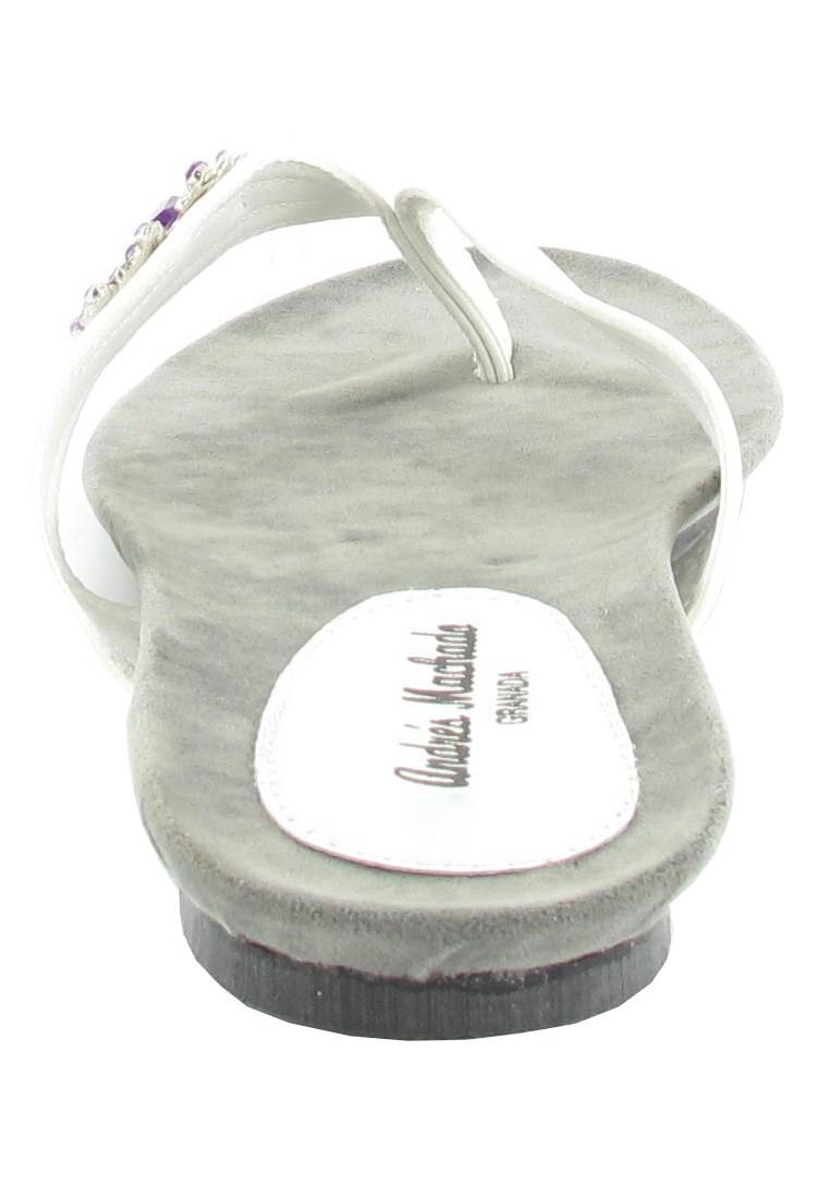SALE - ANDRES MACHADO - Damen Zehentrenner - Weiß Schuhe in Übergrößen – Bild 2