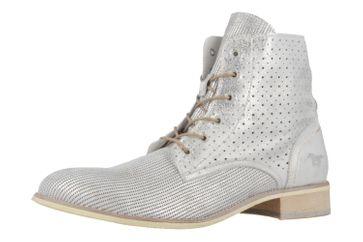 MUSTANG - Damen Schnür-Booty - Silber Metallic Schuhe in Übergrößen