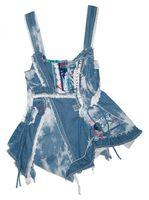 Damen Trägertop Ziernähte Batik-Look Blau Kordelzug Fransen Sommer Top Rüschen – Bild 1