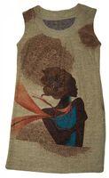 Damen Träger Kleid African-Style Beige-Braun Motiv Nieten Tunika knielang  – Bild 1