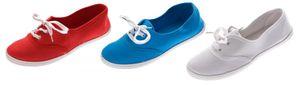 Damen Halb Schuhe Leinenschuhe flach Stoffschuhe Ballerinas Schnürer Rot Hellblau Weiß Sneakers – Bild 1