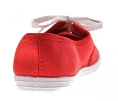 Damen Halb Schuhe Leinenschuhe flach Stoffschuhe Ballerinas Schnürer Rot Hellblau Weiß Sneakers – Bild 16