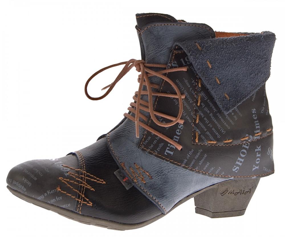 6411fefb1f25 TMA Damen Stiefeletten Echtleder Knöchel Schuhe Leder Boots Trichterabsatz  TMA 6106 Rot Grün Schwarz Weiß Gr. 36 - 42