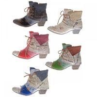 TMA Damen Stiefeletten Echtleder Knöchel Schuhe Leder Boots Trichterabsatz TMA 6106 Rot Grün Schwarz Weiß Gr. 36 - 42 – Bild 1