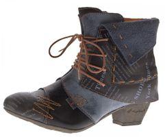 TMA Damen Stiefeletten Echtleder Knöchel Schuhe Leder Boots Trichterabsatz TMA 6106 Rot Grün Schwarz Weiß Gr. 36 - 42 – Bild 2