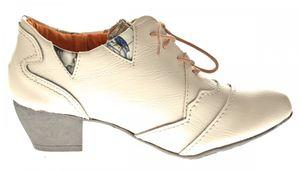 TMA Echtleder Damen Pumps Bunt Leder Halb Schuhe TMA 6101 Zeitungsdruck Trichterabsatz Gr. 36 - 42 – Bild 12