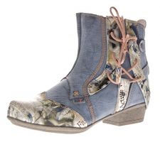 TMA Damen Stiefeletten Comfort Boots Echtleder Schwarz Blau Rot Leder Schuhe TMA 6186 Gr. 36 - 42 – Bild 2