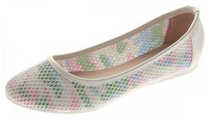Damen Ballerinas flach Schuhe Weiß Bunt Sandaletten Kunstleder luftdurchlässig Slipper Gr. 36-41 – Bild 1