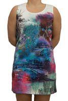 Damen Kleid mehrfarbige Tunika ärmellos Glitzer Steine knielang Natur Motiv Gr. M-XL – Bild 1