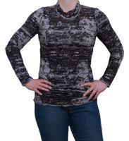 Damen Longsleeve Schwarz Grau Long Shirt Pullover Muster Raffungen Gr. M-XL