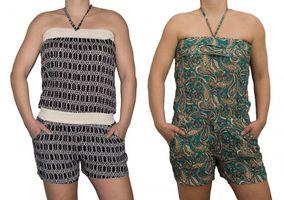 Damen Overall Shorts Hose Schwarz Smaragd Grün kurz Jumpsuit Neckholder Gr. M / L One Size