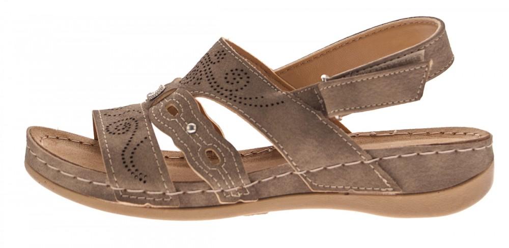 Sandalette Damen Braun Klettverschluss Schuhe Lochmuster Zierstein Yw8B7w