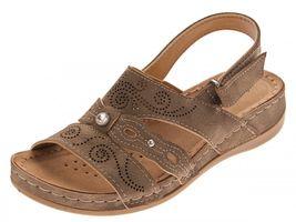 Damen Sandalette Braun Lochmuster Zierstein Klettverschluss Schuhe Leder Soft Fußbett Sandalen Gr. 36-41