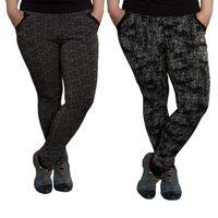 Damen Leggings gemustert Schwarz Weiß Skinny Hose Muster Gummizug Gr. XL  - 6XL – Bild 1