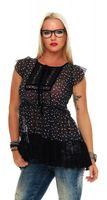 Damen Bluse Chiffon kurzarm transparent Schwarz Weiß Rosa Spitze Rüschen Schleife Gr. M – Bild 4