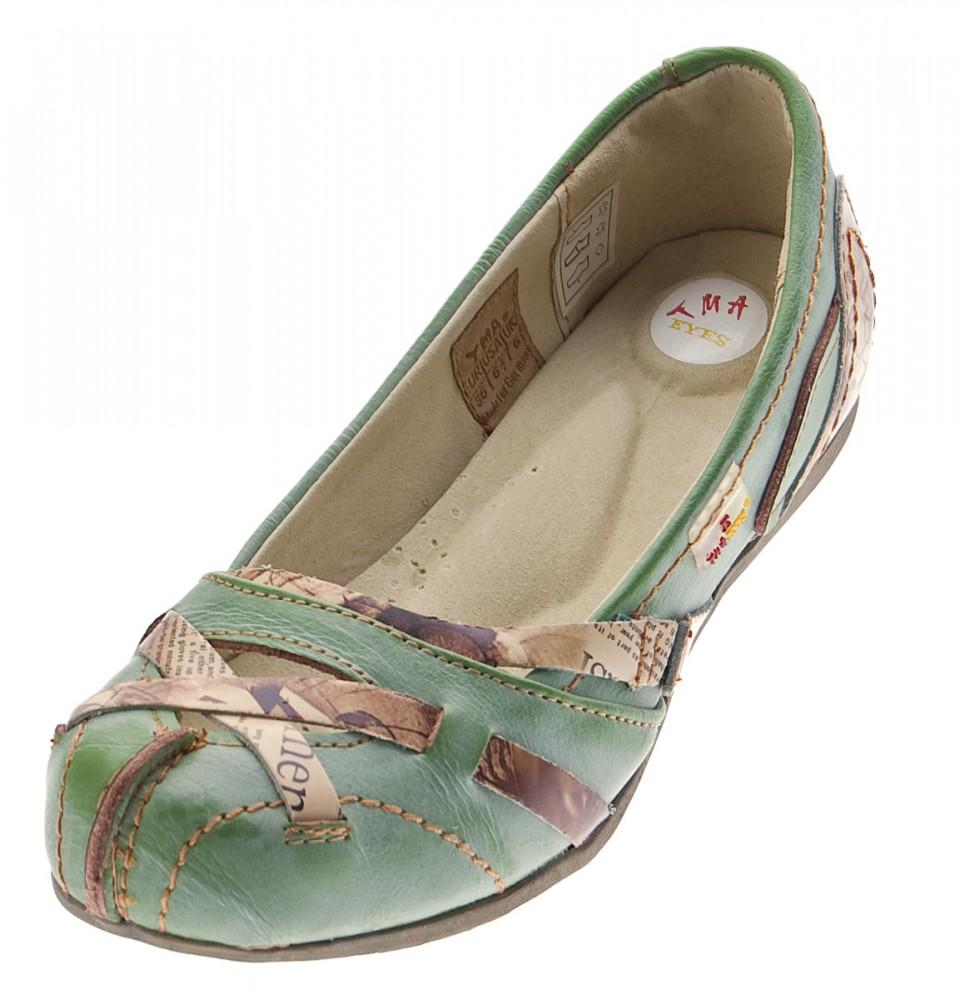 TMA Leder Damen Ballerinas Echtleder Sandalen Comfort Schuhe TMA 5088 Slipper bunt Gr. 36 42