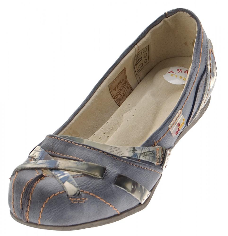 low priced 1b88f 20e05 TMA Leder Damen Ballerinas Echtleder Sandalen Comfort Schuhe TMA 5088  Slipper bunt Gr. 36 - 42