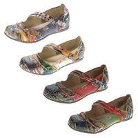 TMA Leder Damen Ballerinas Echtleder Muster variieren Comfort Schuhe TMA 5085 Sandalen bunt Gr. 36 - 42 – Bild 1