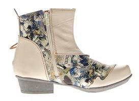 TMA Damen Stiefeletten Comfort Boots Echtleder Schwarz-Grau Weiß-Creme Leder Schuhe TMA 6211 Gr. 36 - 42 – Bild 9