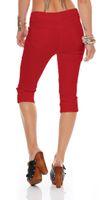 Damen Jeans Stretch Caprihose 3/4 Hose kurz Schwarz Weiß Hell Rot Mint Grün Strasssteine Gr. 34 - 50 – Bild 11