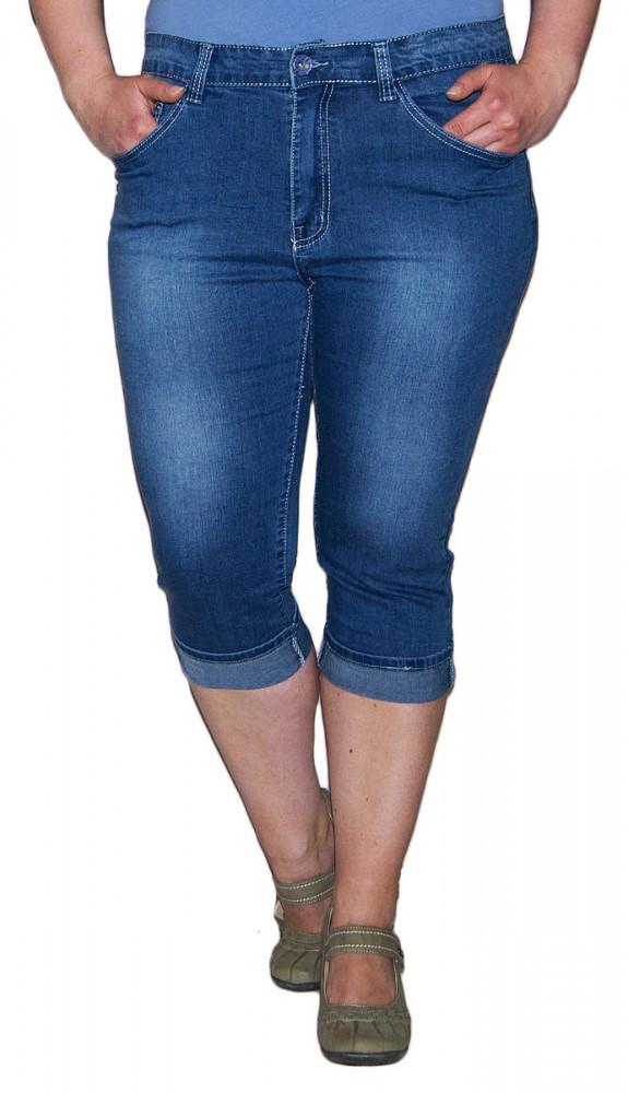 Kurz Hose Stretch Caprihose 34 Blau Jeans Strasssteine Damen mn08wN