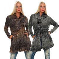 Damen Mantel Braun Grau Strick Jacke breiter Kragen Jacket Knöpfe Gr. S-M