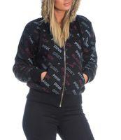 Damen Sweat Jacke Gefüttert Zip Hoodie Bedruckt Kapuze Fellbesatz Gr. M-XXL – Bild 4