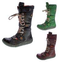 Damen Leder Winter Comfort Stiefel gefüttert echt Leder Schuhe TMA 7086 Neu viele Farben