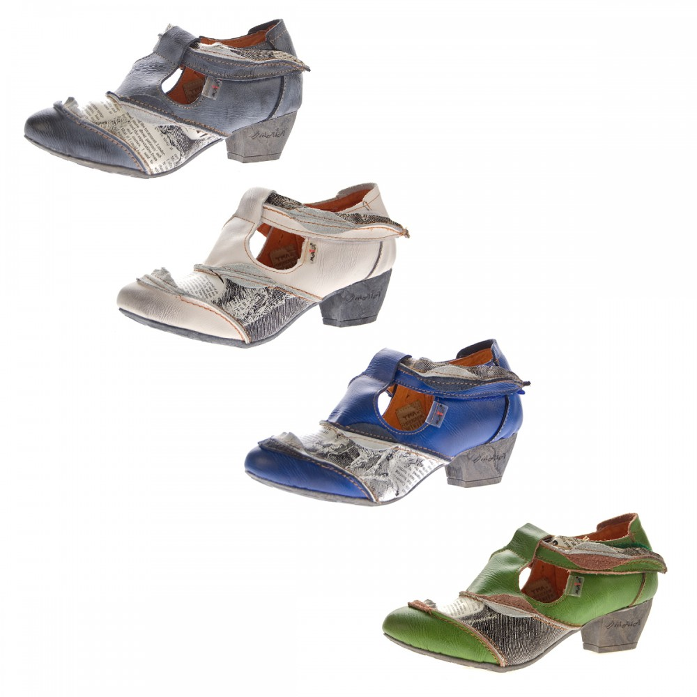 2d98b4cff220 TMA Leder Damen Spangen Pumps Echt Leder Comfort Schuhe TMA 6716 Halbschuhe  Weiß Gr. 36