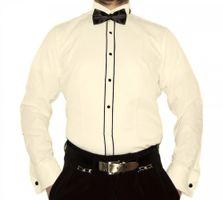 Designer Herren Smoking Hemd Business Hochzeit tailliert Slim Fit Manschettenknöpfe Fliege S16 Langarm – Bild 3